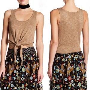 Alice + Olivia Jacinda Crop Knit Tie Tank Tan M
